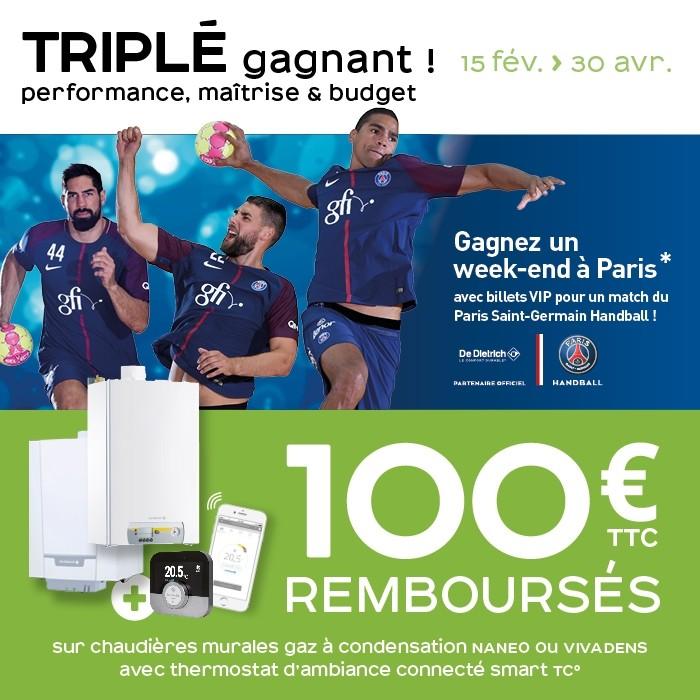 Promotion Triplé gagnant sur les chaudière murale à condensation