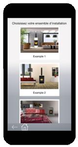 Screenshot de la page d'accueil de l'application poêle à bois sur mobile