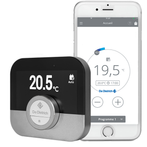 Illustration du thermostat Smart TC et screenshot de l'application Smart TC