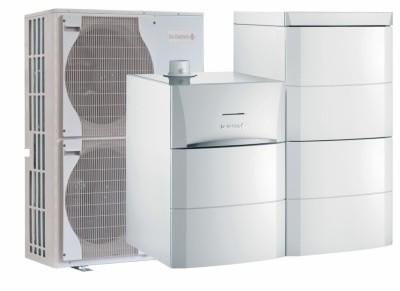 Pompes à chaleur air/eau hybride gaz à condensation au sol HP Inverter G hybrid pour chauffage et ecs 2 colonnes