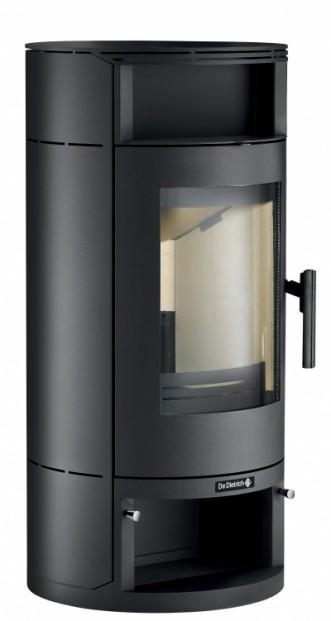Poêle à bois non hydraulique Ebenis avec jaquette en acier de couleur anthracite et noir