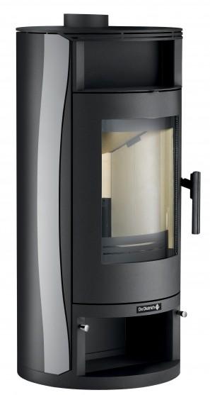 Poêle à bois non hydraulique Ebenis avec jaquette en acier de couleur anthracite noir