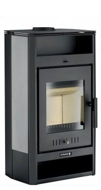 Poêle à bois non hydraulique Tilia avec habillage de couleur gris noir et un corps de couleur noir