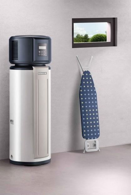 Chauffe eau thermodynamique Kaliko Essentiel installé dans une buanderie