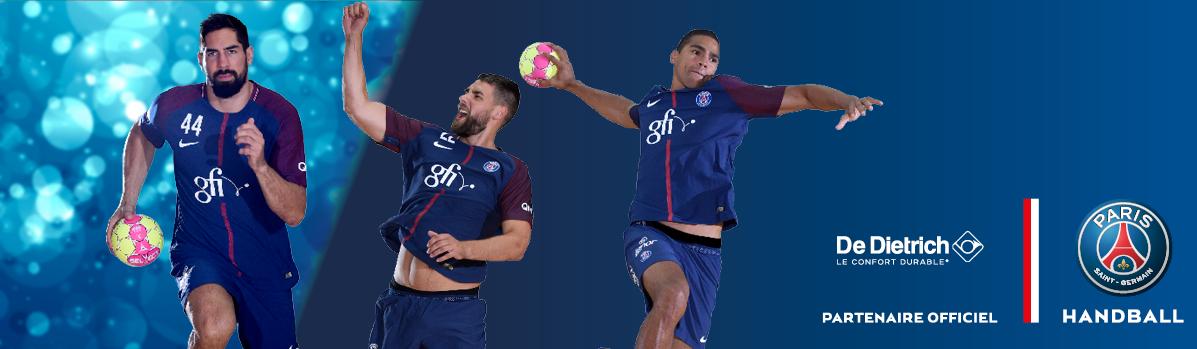 Image d'illustration de trois joueurs de l'équipe de handball pour le partenariat entre PSG et De Dietrich